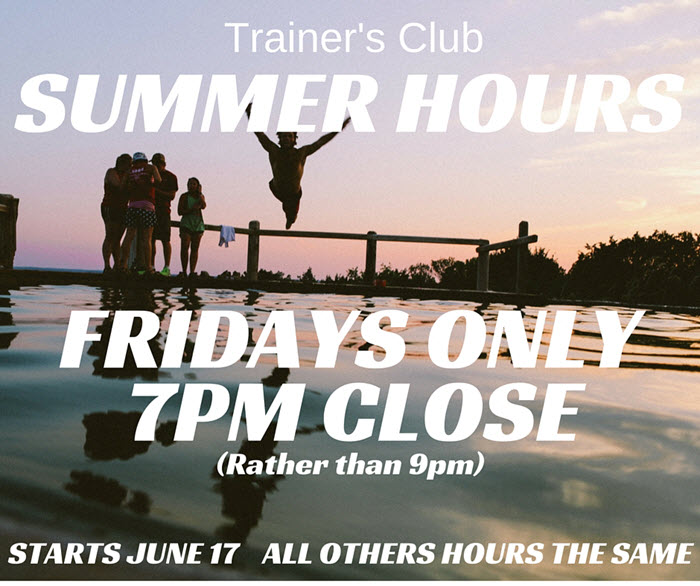 Summer hours Tclub 2016